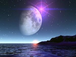 Moon hover the sea
